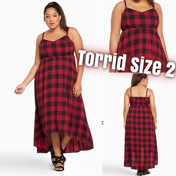 b87105947d0 Plaid Challis Hi-Lo Dress
